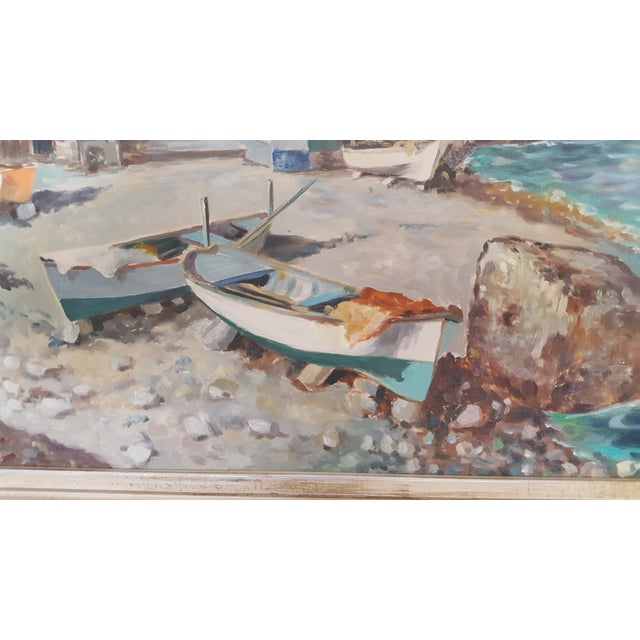 Gesso 1960s Italian Coastal Oil Painting on Masonite by Guiseppe Salvati For Sale - Image 7 of 9