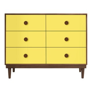 Nico & Yeye Luke Modern Kids 6-Drawer Dresser Solid Walnut and Walnut Veneers Yellow For Sale