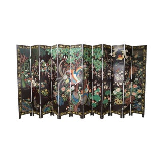 Chinese Monumental Coromandel Lacquer 12 Panel Folding Screen For Sale