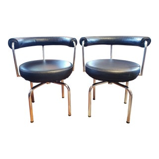 Modern Cassina-Style Black Leather and Chrome Swivel Chairs - a Pair For Sale