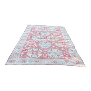 Vintage Distressed Oushak Rug With Pastel Colors - 8′ × 9′6″ For Sale