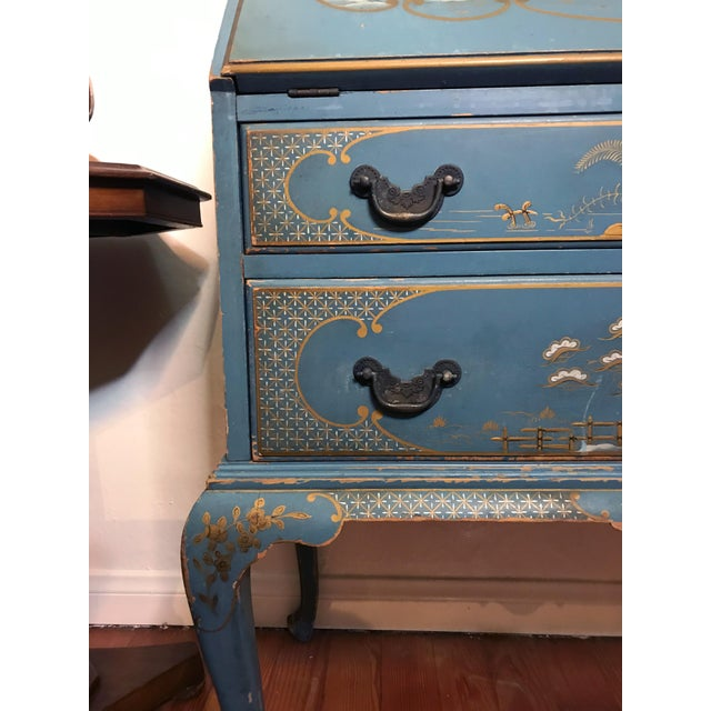 Mid Century Hand Painted Chinoiserie Blue Secretary Desk For Sale In Los Angeles - Image 6 of 12