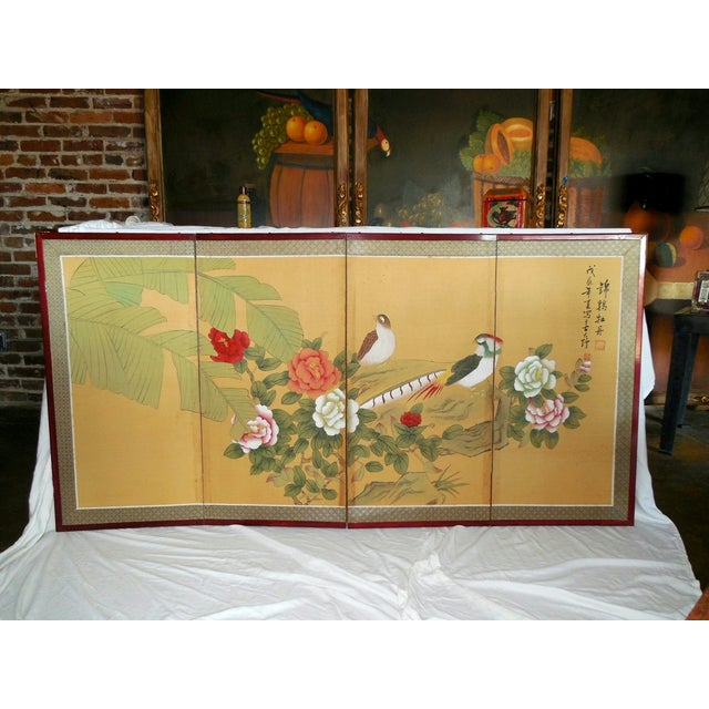 Japanese Silk Byobu Screen With Pheasants - Image 2 of 8