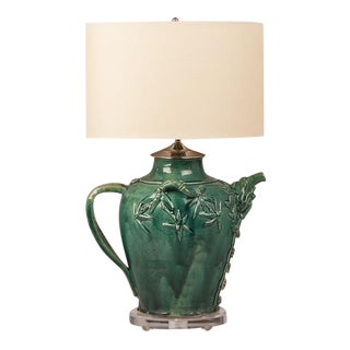Vintage Chinese Green Glazed Pottery Vessel circa 1950 Repurposed as a Custom Lamp