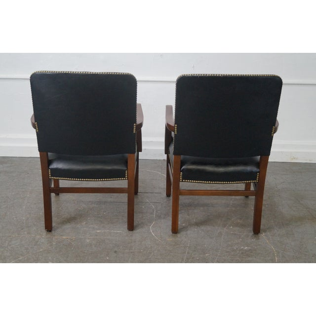 Gunlocke Traditional Black Office Arm Chairs - A Pair - Image 2 of 10