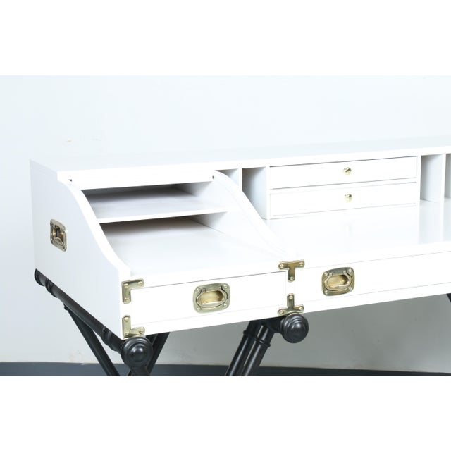 White Hollywood Regency Desk - Image 10 of 11