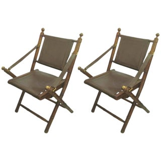 Pair of Hand-Stitched Leather and Faux-Bamboo Campaign Folding Chairs For Sale