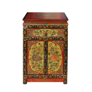 Tibetan Oriental Black Yellow Orange Floral End Table Nightstand For Sale
