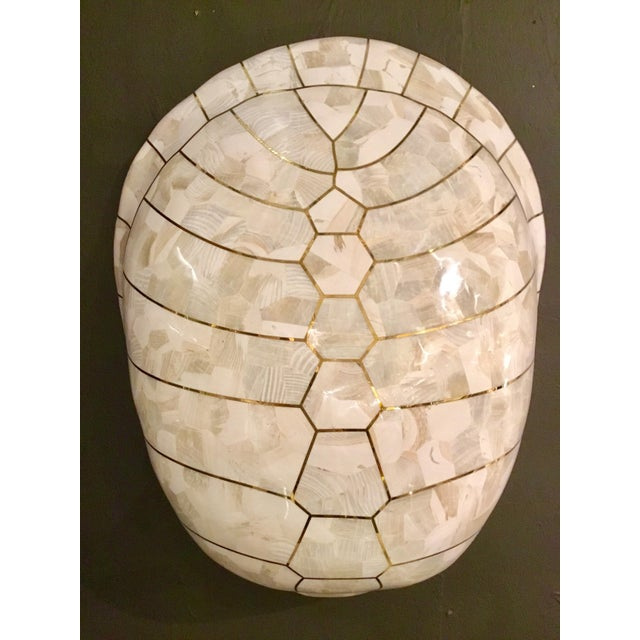 Stylish Mainland-Smith Modern White Turtle Shell Wall Sculpture, clam shell with brass inlay, showroom floor sample,...