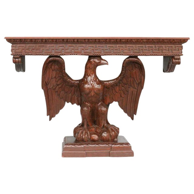 American Neoclassical Hand-Carved Eagle Console Table - Image 1 of 7