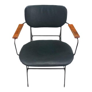 Mid-Century Danish Modern Bent Wire Frame Wood Arm Dining / Side Chair For Sale