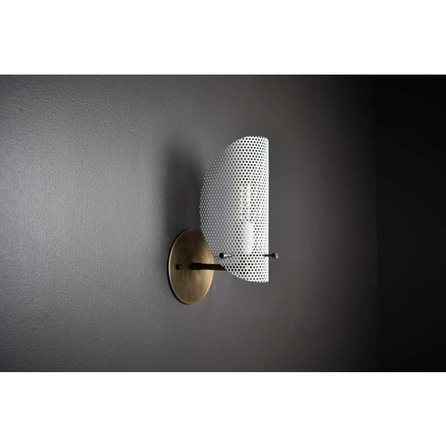 Blueprint Lighting Petite Tulle Wall Sconce in Bronze + White Enamel Mesh, Blueprint Lighting, 2020 For Sale - Image 4 of 8
