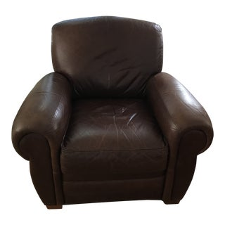 1990s Art Deco Style Leather Club Chair For Sale
