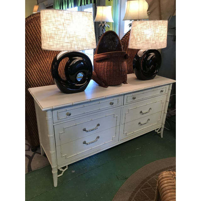 Vintage Thomasville Faux Bamboo Six Drawer Dresser For Sale - Image 9 of 12
