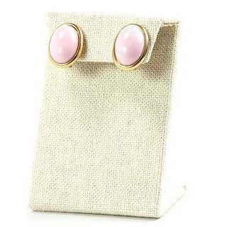 60s Trifari Pink Oval Clip on Earrings
