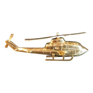 1960s Vintage Brass Helicopter Office /Man Cave/ Desk Item. Free Shipping For Sale