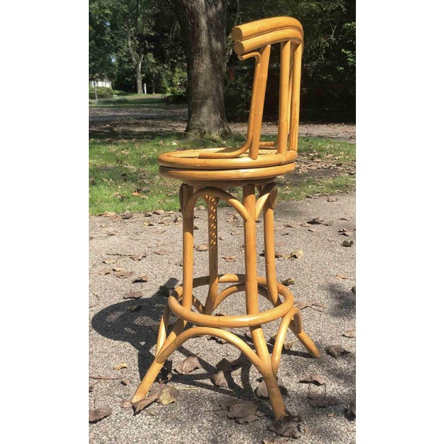 Gold Mid-Century Bamboo and Cane Tiki Bar Stools - 5 Pc. Set For Sale - Image 8 of 9