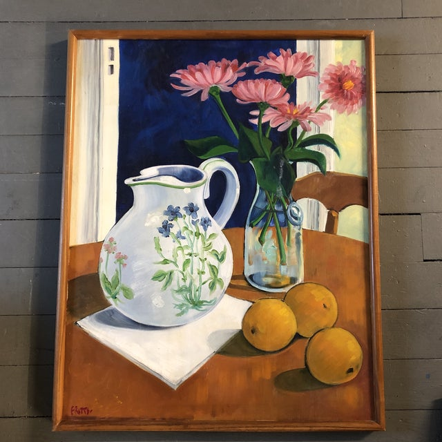 Canvas Original Vintage Still Life Painting Mid Century Signed For Sale - Image 7 of 7