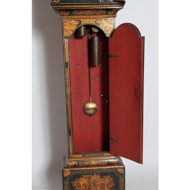 George II Lacquered Chinoiserie Tall Case Clock Inscribed Jno. Fladgate, London For Sale - Image 9 of 13