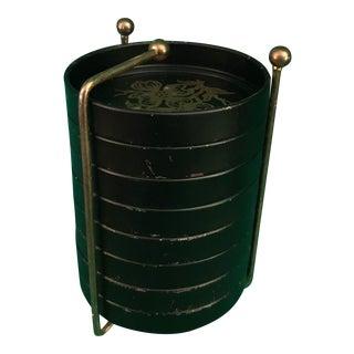 Black Lacquerware Coaster & Brass Stand - Set of 8