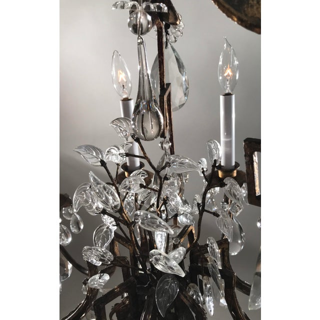 Gold 1930 French Gilt Tole & Crystal Chandelier For Sale - Image 8 of 11