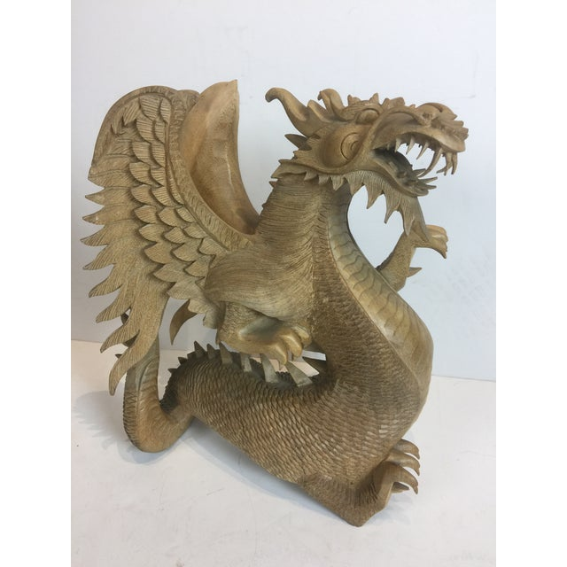 Rare Magnificent Vintage-Carved Wooden Dragon Figurine For Sale - Image 9 of 13