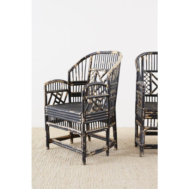 Brighton Bamboo Rattan Chinese Chippendale Lacquered Chairs For Sale In San Francisco - Image 6 of 13