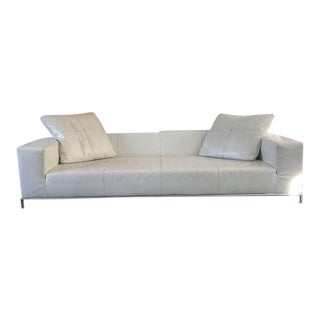 B & B Italia George White Leather Sofa