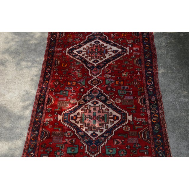 """Mid 20th Century Extra Large Persian Hand Woven Hamadan Runner - 16' X 4' 8"""" For Sale - Image 5 of 12"""