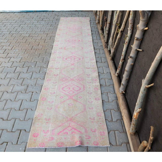 Pink 1960s Turkish Handmade Hallway Runner-2'7x12'1 For Sale - Image 8 of 11