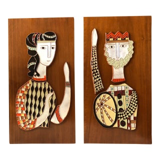 1950s Vintage Harris G. Strong Ceramic Tiled Wall Panels - a Pair For Sale