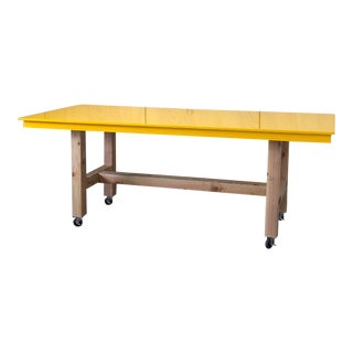 Industrial Yellow Epoxy Work Table on Casters Wheels For Sale