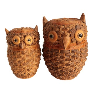 Zhejiang Handicrafts Wicker Owls - Set of 2 For Sale