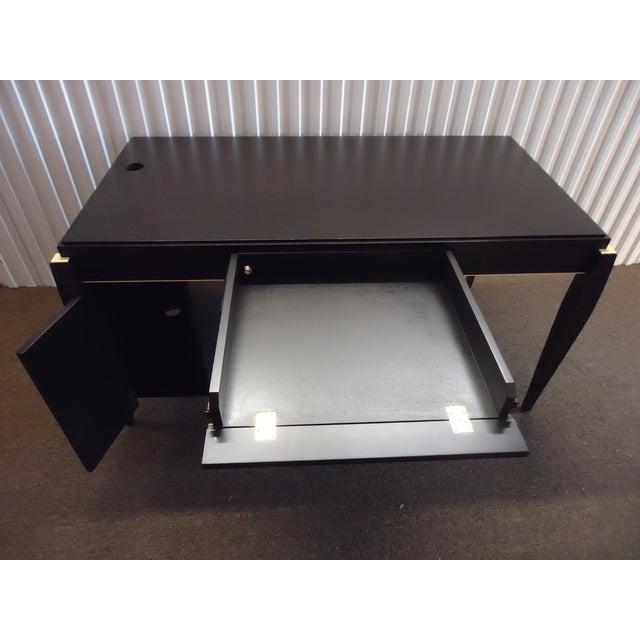 Brown Mid-Century Modern Dark Wood Tanker Desk For Sale - Image 8 of 13