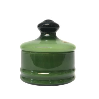 Mid Century Modern Empoli Italian Green Glass Canister For Sale