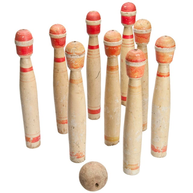 Vintage French Wood Skittles With Ball - Set of 9 - Image 2 of 3