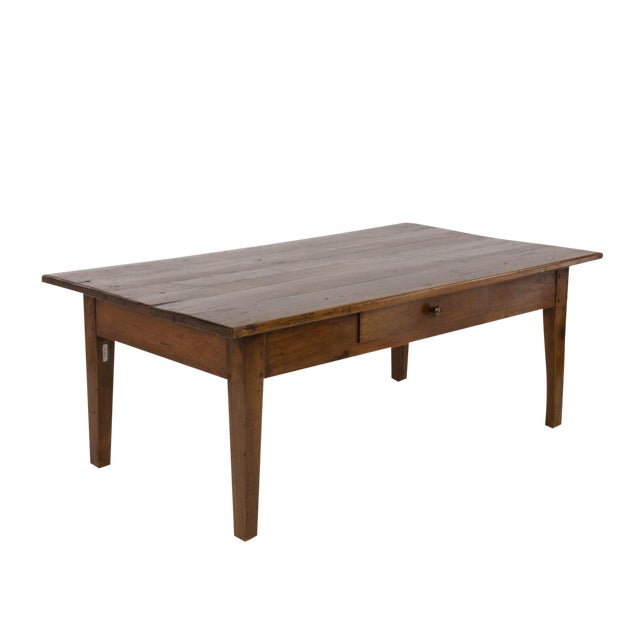 1870 French Walnut Low Table With Center Drawer For Sale