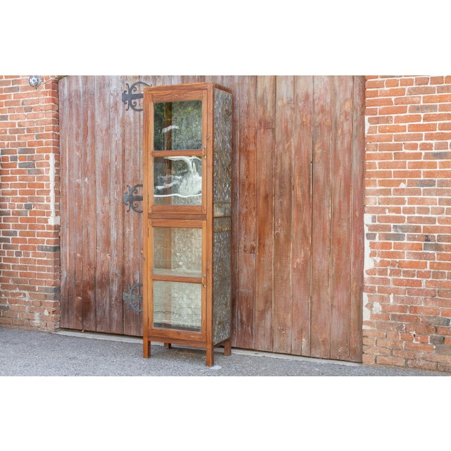 Metal Tall 19th Century British Colonial Glass Cabinet For Sale - Image 7 of 13