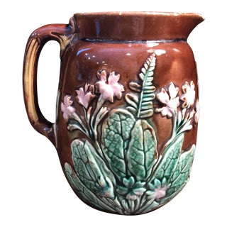 1920s Floral Majolica Pitcher For Sale