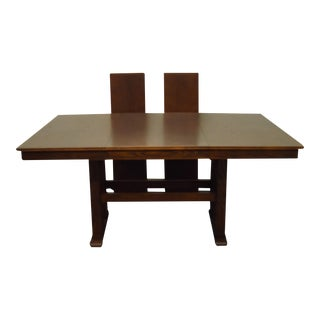 """Arcese Furniture Solid Oak Mission Shaker Style 89"""" Trestle Dining Table 357-242 For Sale"""