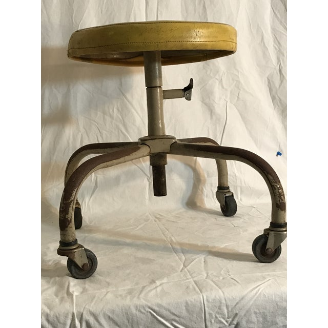 Vintage Industrial Casters Low Stool with Yellow Vinyl - Image 3 of 10
