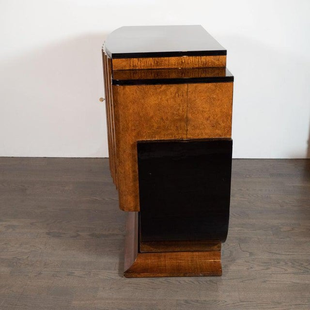 English Art Deco Streamlined Black Lacquer and Burled Carpathian Elm Cabinet For Sale - Image 9 of 10