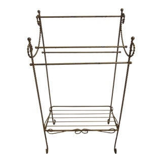 Vintage Regency Gilt Metal Towel Rack
