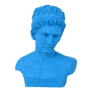 Vintage Turquoise Blue Bust of the Roman Emperor Augustus Caesar For Sale