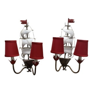 Vintage 1960s Mid-Century Modern Arm Metal Ship Sconces - a Pair For Sale