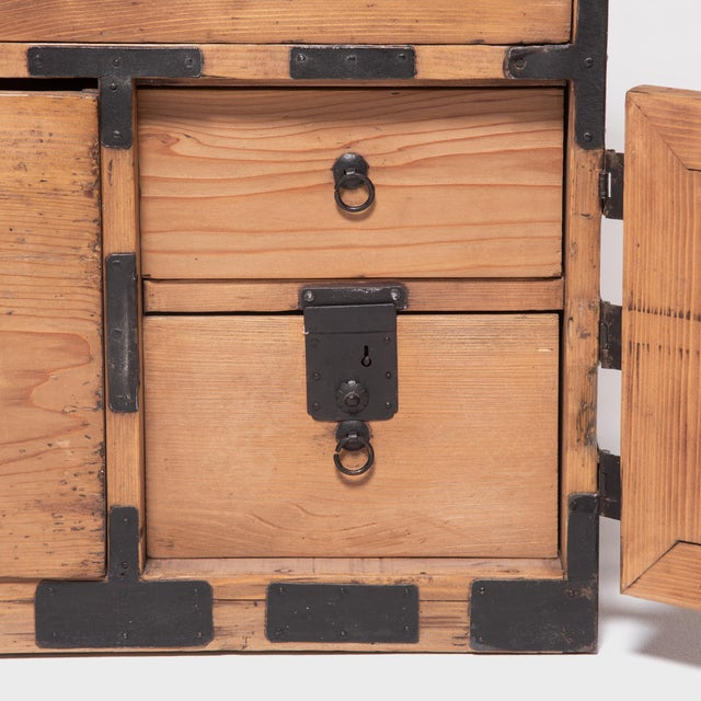 Brown Early 20th Century Japanese Iron Bound Tansu For Sale - Image 8 of 11