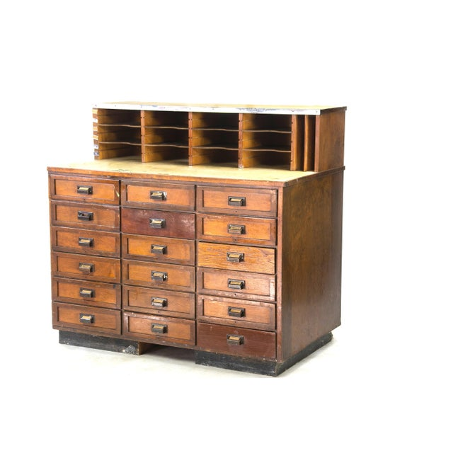 1920s 1920s Industrial Eighteen-Drawer Clerical Desk For Sale - Image 5 of 5