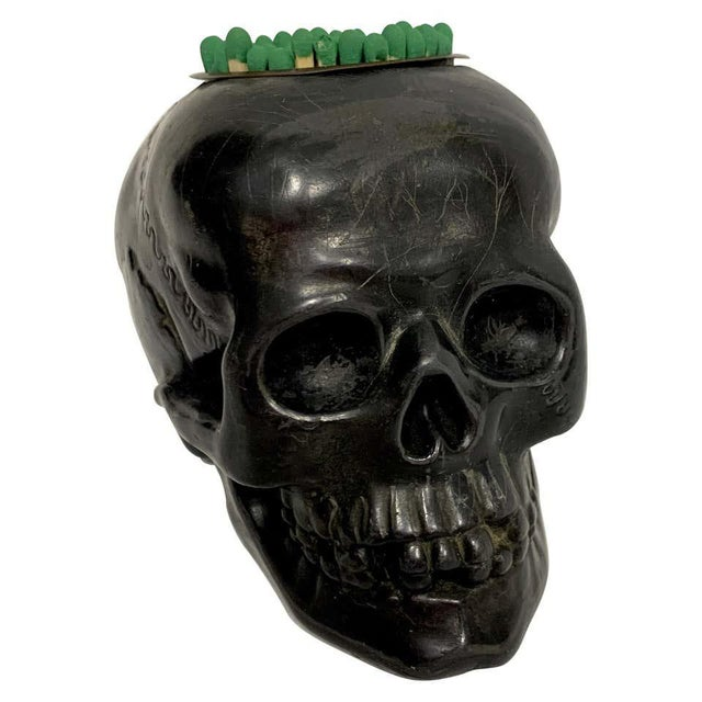 Antique German Gunmetal Skull Match Holder/Strike For Sale - Image 11 of 11