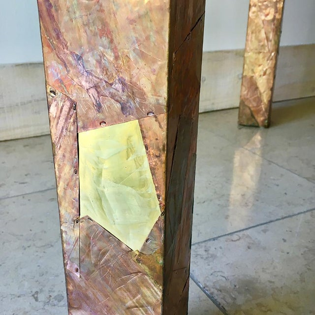 1970s Lacquered Copper and Brass Pathwork Console Table 1970s For Sale - Image 5 of 7