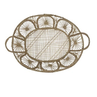 1970's Boho Chic Wire Based Wicker Basket For Sale